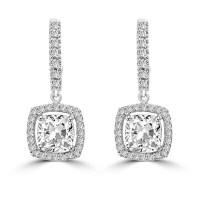 Diamond Essence Leverback Earrings with Cushion cut Stone ...