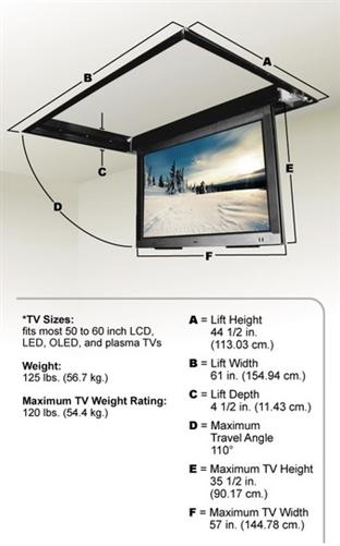 Motorized tv ceiling bracket for Vivo motorized tv mount