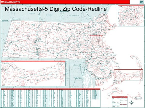 Massachusetts Zip Code Map with Wooden Rails from