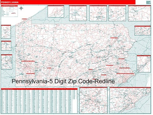 Pennsylvania Zip Code Map with Wooden Rails from