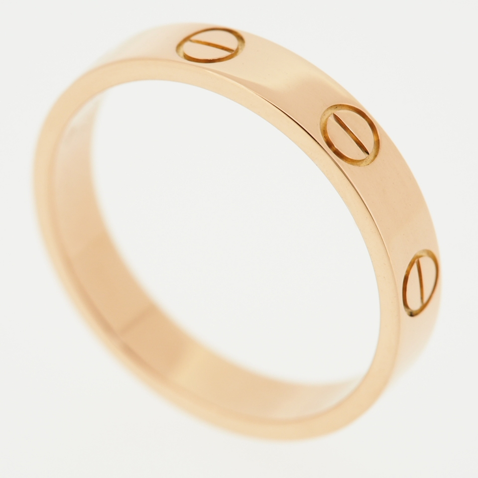 CARTIER 18K ROSE GOLD LOVE WEDDING BAND RING 52 WITH