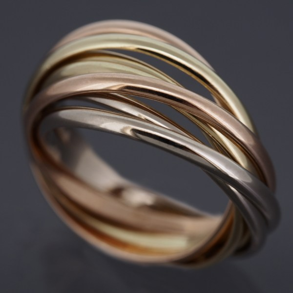 Cartier 18k Tri-color Gold 7 Bands Trinity Rolling Ring 50