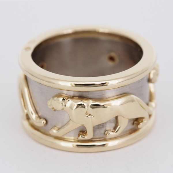 Cartier 18k White & Yellow Gold Panthere Mahango Ring With