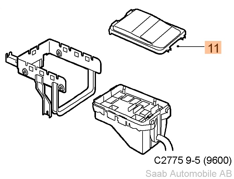 Saab 9-5 Fuse Box Cover (1998-2009)