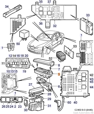 Saab 9-3 Electrical Distribution Unit (2003-2007) #5
