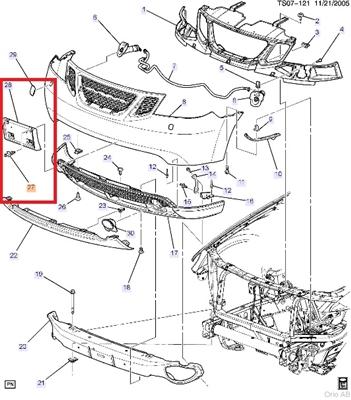 Saab 9-7x Front License Plate Bracket W/ Hardware Kit