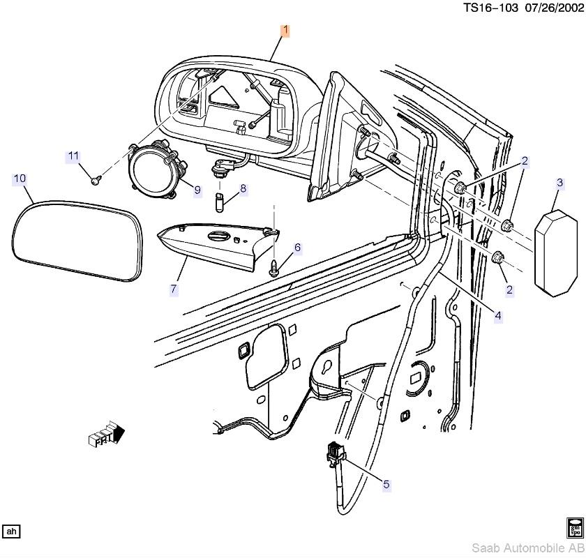 Saab 9-7x Mirror (2005+) ITEM #1 Passenger Side