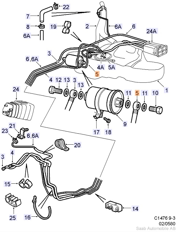 Saab OEM 900 / 9-3 Fuel Pipe (ITEM #5)