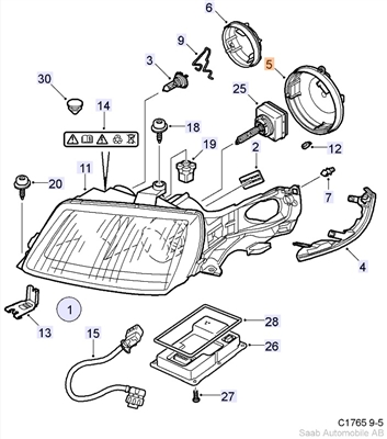 Saab 9000 Headlight Parts Diagram. Saab. Auto Wiring Diagram