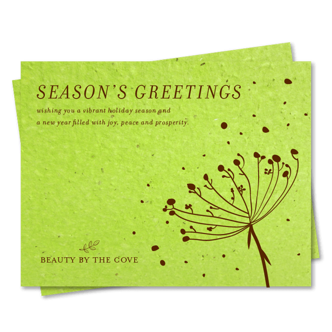Green Corporate Holiday Cards On Seeded Paper Organic