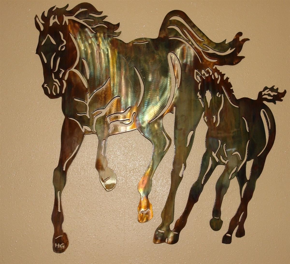 Mom & Me Running Horse Pair Metal Wall Art Decor