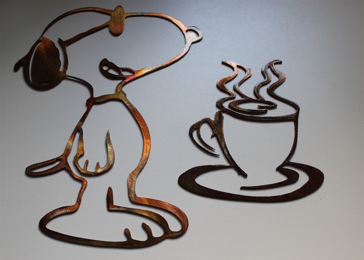personalized kitchen items memory foam mat coffee drinking snoopy set copper/bronze plated metal art