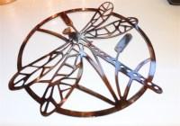 Dragonfly Metal Wall Art Circle