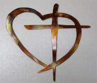 Heart & Cross Metal Wall Art Decor