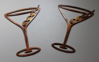 Copper/Bronze Martini Glasses Metal Wall Art Decor Set of 2