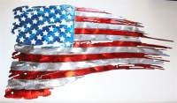 """Worn and Torn Patriotic American Flag Metal Art"""