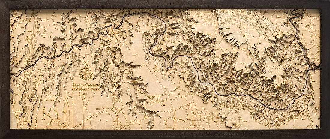 Custom Wooden Topographic Map of the Grand Canyon