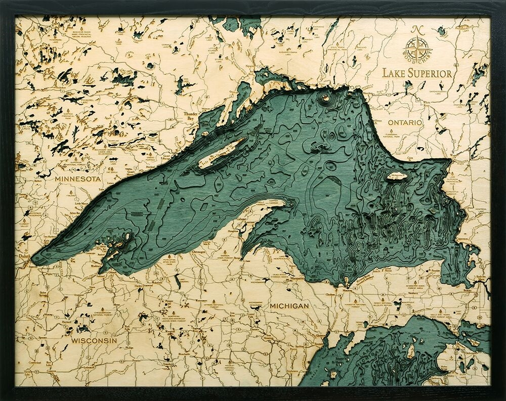 lake superior nautical real wood map depth decorative chart also custom charts of from carved art rh carvedlakeart