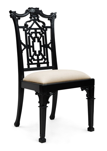 black side chair folding wooden directors chippendale