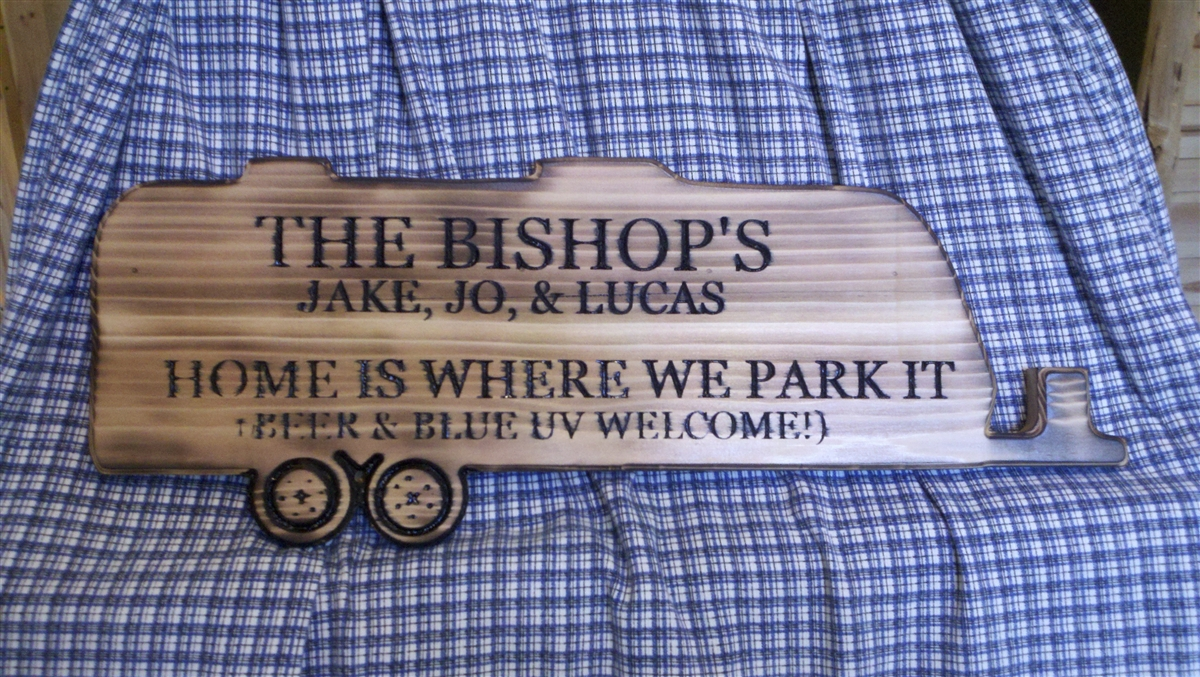 Personalized carved camper sign Carved in Cedar Exterior
