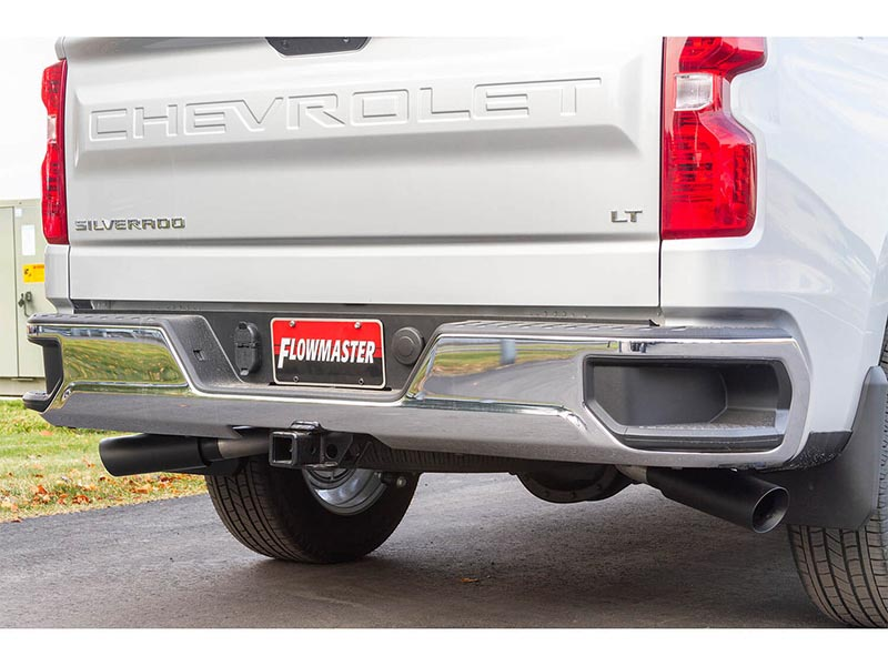 flowmaster 3 outlaw cat back dual exhaust system w dual side or rear exit 4 black tips 2019 2021 silverado 1500 5 3l