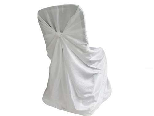 white universal chair covers mexican pine dining table and chairs crinkle taffeta cover