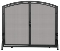 Uniflame Single Panel Black Fireplace Screen with Doors