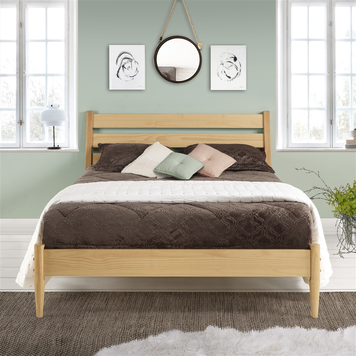 Mid Century Platform Bed Queen Size Scandinavian Oak Finish