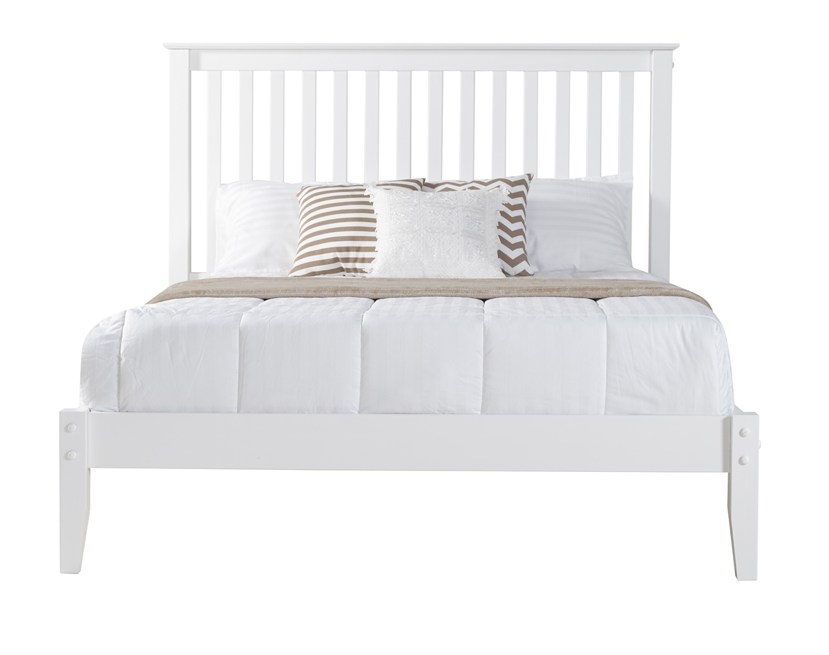 shaker style mission queen size platform bed white finish