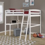 Concord Full Size High Loft Bed With Desk White