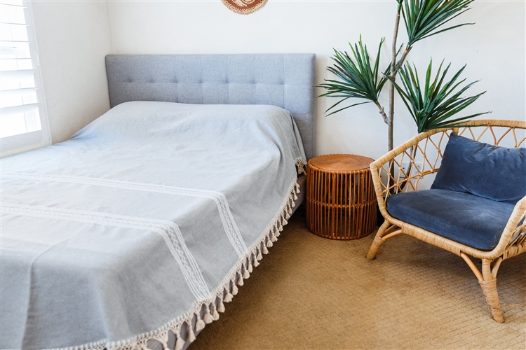 queen size oaxacan mexican bedspread light gray