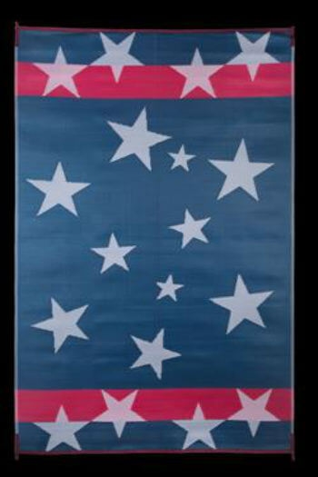 faulkner 68877 reversible rv outdoor patio mat red white blue stars n stripes design 8 x 20