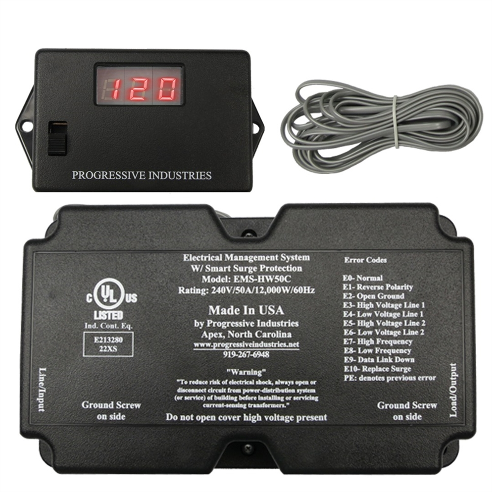 progressive industries hardwire 50 amp rv surge protector w remote display [ 1000 x 1000 Pixel ]
