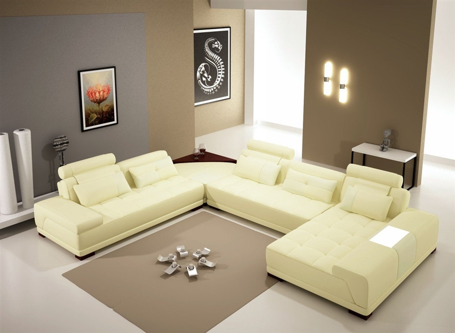 monte contemporary leather yellow sectional sofa