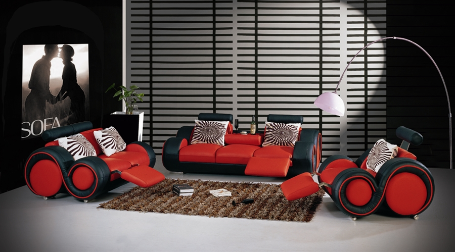 black and red leather sofa navy uk modern set tos lf 8804 blackred bn