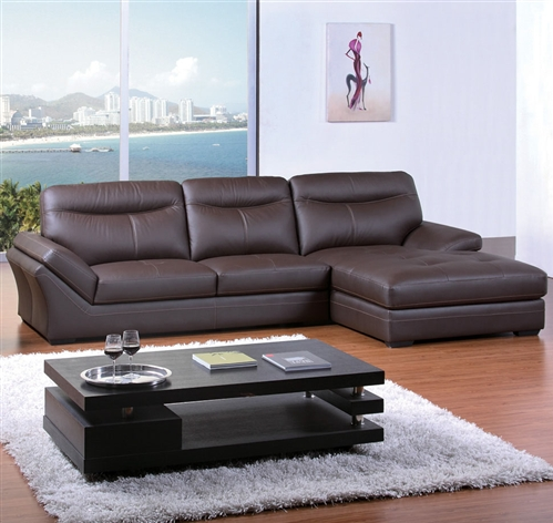 contemporary chocolate bonded leather sectional sofa