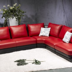 Living Room Black Leather Sectional Solid Wood Tables Modern Red Sofa Tos Fy709