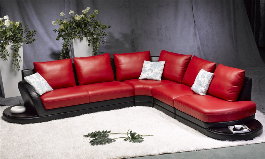 modern red black leather sectional sofa
