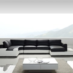 Living Room Black Leather Sectional Wayfair Furniture Modern White And Sofa Tos Lf 2029 Whb