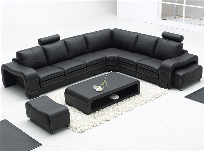 leather sectional sofas small corner sofa uk modern set table tos lf 3330 black