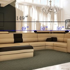 White Bonded Leather Sectional Sofa Set With Light Brown Electric Recliner Italian Design Modern Honey Tos Lf 4001