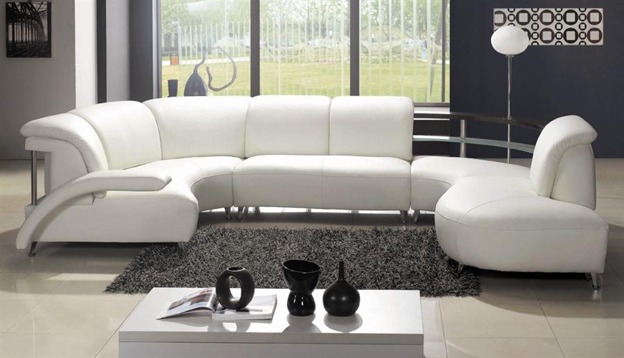 modern white wrap around design leather sectional sofa
