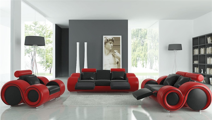 contemporary living room with black leather sofa traditional set modern and red tos lf 8804 blackred lther