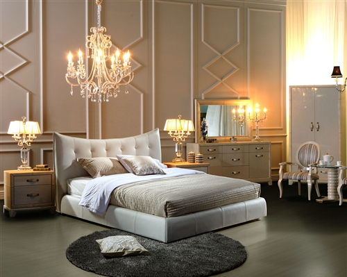 moda modern white queen bed