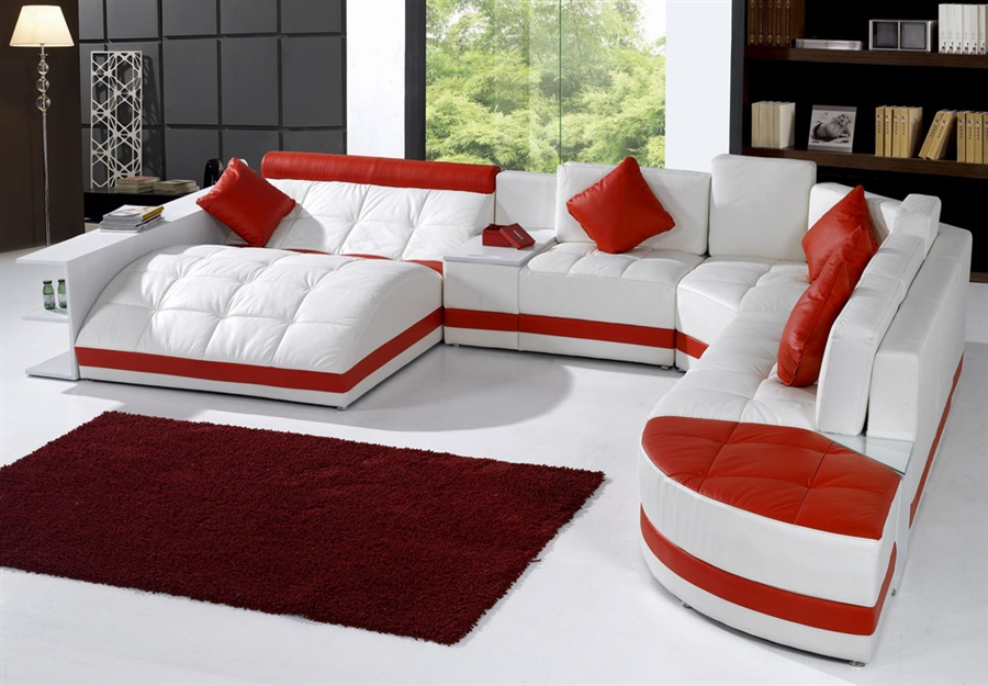 miami contemporary leather sectional sofa set white red on special