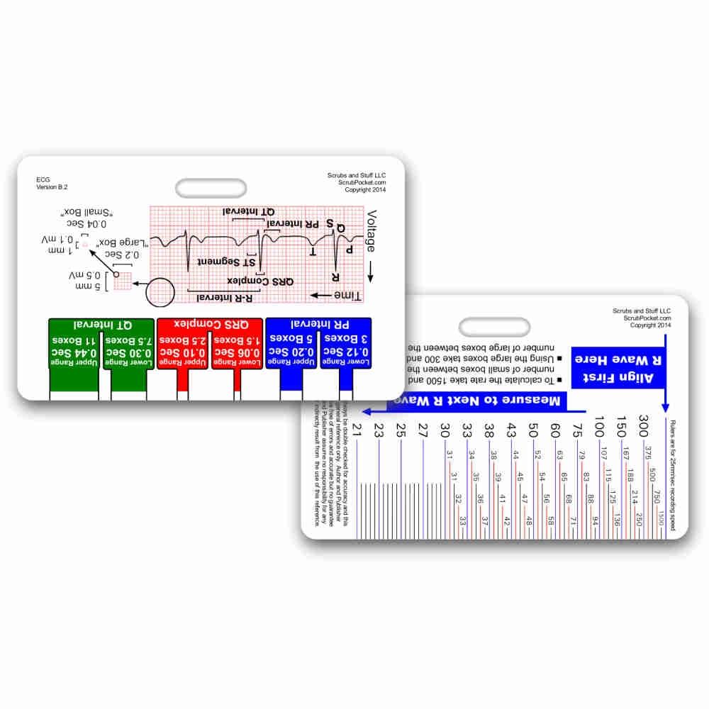 array ekg ruler u0026 diagram reference card rh scrubpocket  [ 1000 x 1000 Pixel ]