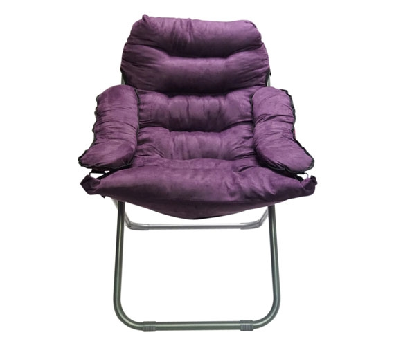 Cheap College Club Dorm Chair  Plush  Extra Tall  Purple Seating Foldable Dorm Necessities
