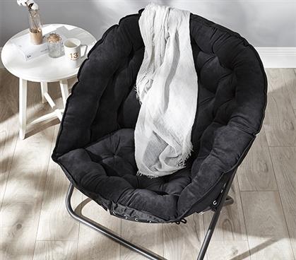 Papasan Moon Chair  Black Comfy and Cheap Dorm Chair