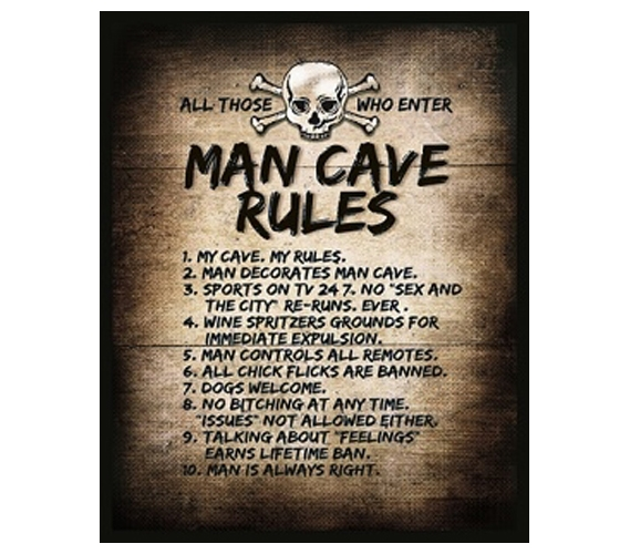 The Man Cave Rules  College Guys Tin Sign Dorm