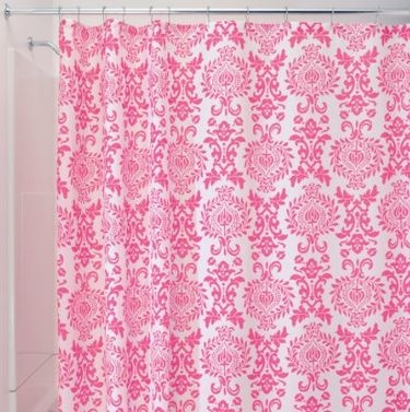 Damask Hot Pink Shower Curtain